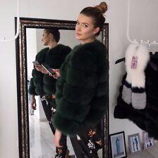 Dark Green Chic Genuine Fox Fur Coat Jacket Fluffy Tsaritsa Furs Size 10 12 14