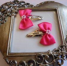 girls hair clips snap clips slides bendies  hair clip hot pink bows