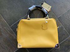 IUHA Italy production leather 2way handbag shoulder bag yellow