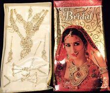 Bollywood Indian Bridal Necklace Earrings Tikka Jewellery White Wedding set A4