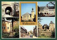 WOLKENSTEIN Kr. Zschopau DDR Mehrbild-AK ua. Postmeilensäule, Rathaus, Kirche