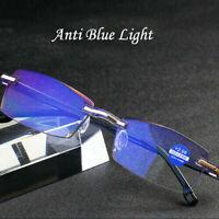 Rimless Reading Glasses HD Lens Anti Blue Light Computer Eye Glasses +1.0 ~ +4.0