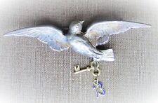 Taube mit Glücksbringer, Jugendstil Motiv Silber brooch enameled, pigeon