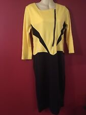 FASHION COLLECTION Women's Yellow/Black Dress - Juniors Size Large - NWT