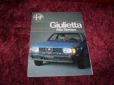 Prospectus / Brochure ALFA ROMEO Giulietta 1979 / 1980 //
