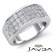Band Ring 14k White Gold 1.75Ct Womens Princess Invisible Diamond Half Wedding