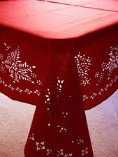 "52""x 70"" Red Laser Cut Snow Flakes Hemstitch Fabric Tablecloth"