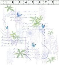 Fat Quarter Morning Meadow Butterflies White Cotton Quilting Fabric - Clothworks