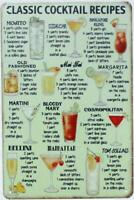 "Classic Cocktail Recipes Tin Sign Metal Wall Plaque 12"" x 8"""