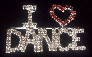 I LOVE heart DANCE BROOCH PIN Fashion Jewelry Cut Faceted Glass Ruby Diamond NEW
