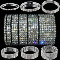 Elastic Rhinestone Crystal Stretch Bracelet Bangle Wristband Wedding Bridal Gift