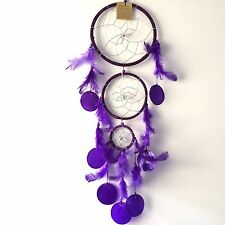 NEW LARGE PURPLE COLOUR SHELL AND FEATHER DREAM CATCHER NATIVE AMERICAN MOBILE