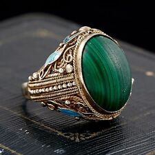 Antique Deco Sterling Silver Chinese Filigree Enamel Malachite Ring S 8.5-9