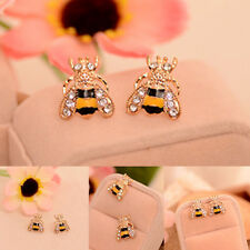 Women Enamel Rhinestone Crystal Bumble Bee Earrings Animal Ear Stud Jewelry Gift