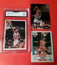 MICHAEL JORDAN 96 UD GRADED GMA MINT 9 CARD & 1990-91 FLEER & 92-93 STADIUM CLUB