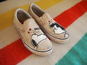 Vans x Peanuts Classic Slip On | Womens Shoes | Snoopy Lucy Pearl Sz 8.5 Mens 7