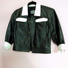 Vintage LOUIS FERAUD Girls Leather Bomber Jacket Black and White Size Small