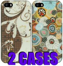 For iPhone SE 5S - *2 CASES TOTAL* HARD FITTED SKIN CASE COVER COLORFUL FLOWERS