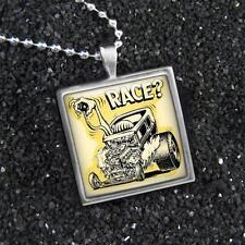 Rat Fink Race Ed Roth Hot Rod Kulture Silver Glass Rockabilly Pendant Necklace