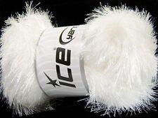 100 Gram White Eyelash Glitz #46549-35794 Ice Sparkly White Eyelash Yarn 153 yds