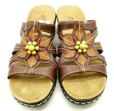 Clarks Bendables Brown Leather Beaded Floral Slide Sandals Shoes Women's 6.5 M