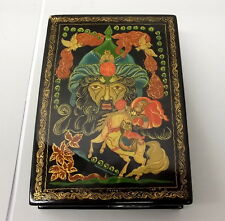 Vtg Palekh Box Hand Painted Russian Lacquer Signed Owl Horse Knight Hero