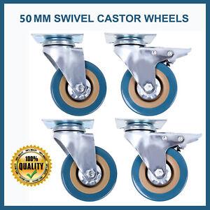 4 Heavy Duty 200KG 50mm Rubber Swivel Castor Wheels Furniture Trolley Caster UK