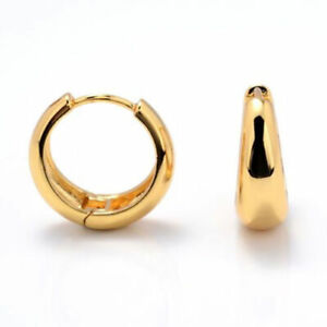 Exquisite Smooth 18K Yellow Gold Filled Thiny Circle Ear Hoop Earrings Jewelry