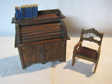 Schneegas chair & roll top desk bank??? w/ books, antique vintage 1:12 scale