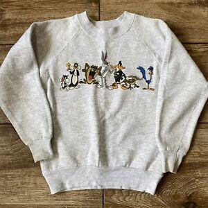 Vintage 90s Looney Tunes 2 Side Graphics Sweatshirt Acme Youth Kids S/M Bugs Taz
