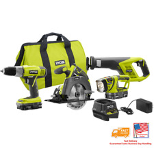 🔥🆕Ryobi 18V Lithium Ion Cordless Contractor's Kit P883 4 tools, 8 Pieces✅