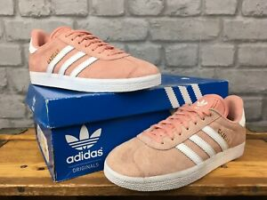 ADIDAS LADIES PEACH PINK SUEDE GAZELLE TRAINERS VARIOUS SIZES B43649 T