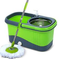 360 Degree Spin Mop Bucket System w/ stainless Wringer and 2 Mop Heads