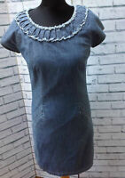 WOMENS BODEN FITTED DENIM DRESS CAP SLEEVES SIZE UK 10