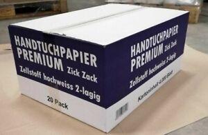 Papierhandtücher Falthandtücher Premium weiß 25 x 21 cm 2 lagig Zick Zack Falz