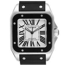 Cartier Santos Steel Black Rubber Mens Watch