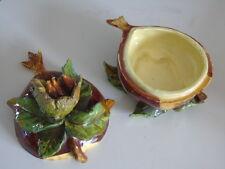 ancien pot, vide poche céramique vintage Algérie, Alger châtaigne signée Bougier