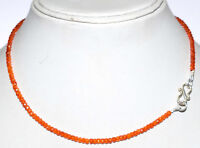 925 Sterling Silver Orange Zircon Gemstone Round Cut Beads Fine Jewelry Necklace