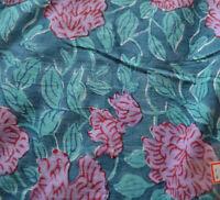 Cotton Fabrics Vintage 3 Yard Indian Hand Block Flower Print Craft Running Loose