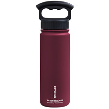 Fifty/Fifty 18oz BURGUNDY Insulated Stainless Steel Water Bottle 3 Finger Lid