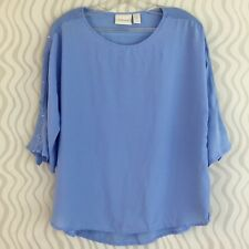 Chicos Blue Blouse Shirt Top Size 0 Sequins Rayon Lightweight