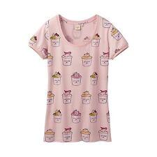 Laduree Paris T-Shirt Short Puff Sleeve Cup Cake Pink (S) JAPAN-Size UNI