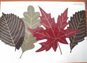 Papyrus Glitter Leaves Fall Foliage Thanksgiving Greeting Card