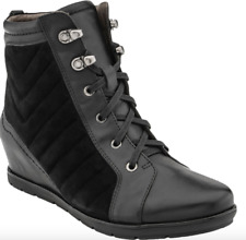 Earthies Limburg Wedge Booties Women's size 9 Black Suede/Leather