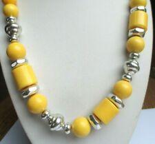 Classique Collier de perles en résine jaune et argenté bijou rétro