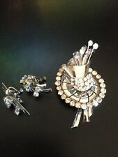 Vintage Sterling Sliver Brooch W/ Earrings