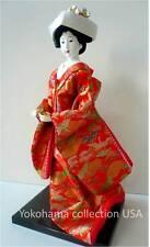 "Japanese OYAMA Doll 13"" H Bride Wedding Red Kinran Brocade Kimono/Made in Japan"