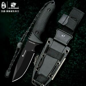 """Drop Point Knife Hunting Wild Survival Combat Tactical D2 Steel Rubber Handle 4"""""""