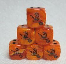 Dice -(6) Chx Custom *Witch's Hat & Broom* - 16mm Vortex Orange w/Black Hat/Pips