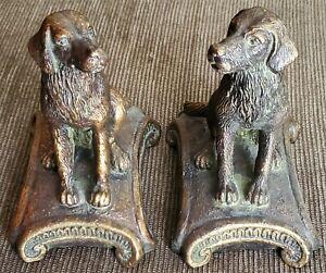 "Regal Gold Dog Bookends Golden Retriever/Labrador on Cushion Bronze Figurine 7"""